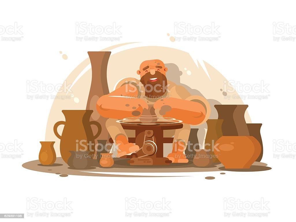 Potter bearded man - ilustración de arte vectorial