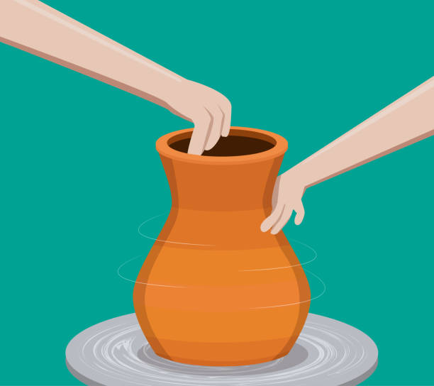 Potter making a pottery, vector vector art illustration