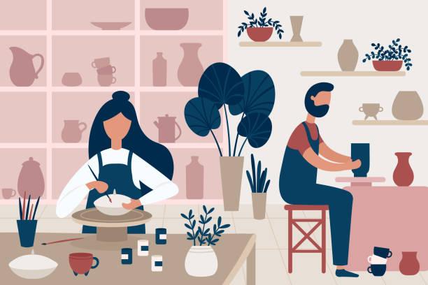 ilustrações, clipart, desenhos animados e ícones de hobby de cerâmica. artesanal de barro, pessoas decoração potes e artesanato de cerâmica oficina ilustração vetorial plana - cerâmica artesanato