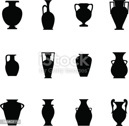 Black icons representing different shapes of potteries.