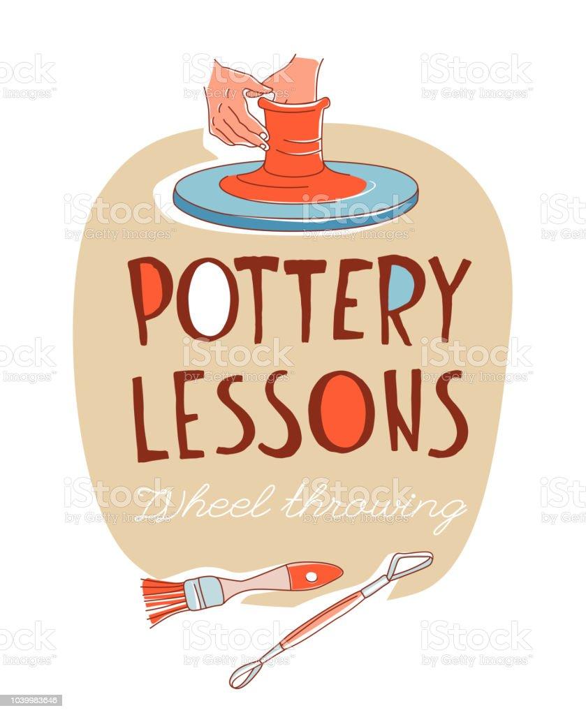 Clases de cerámica. Toma, manos formando el vaso sobre la rueda de cerámica tradicional - ilustración de arte vectorial