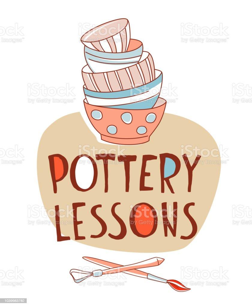 Clases de cerámica. Toma, pila de tazas vajilla de cerámica tradicional - ilustración de arte vectorial