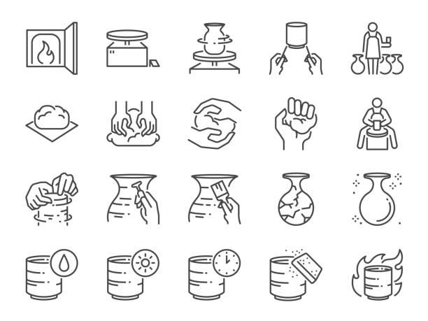 ilustraciones, imágenes clip art, dibujos animados e iconos de stock de conjunto de iconos de la línea de cerámica. incluye iconos como arcilla, terracota, cerámica, porcelana, escultura y más. - alfarería