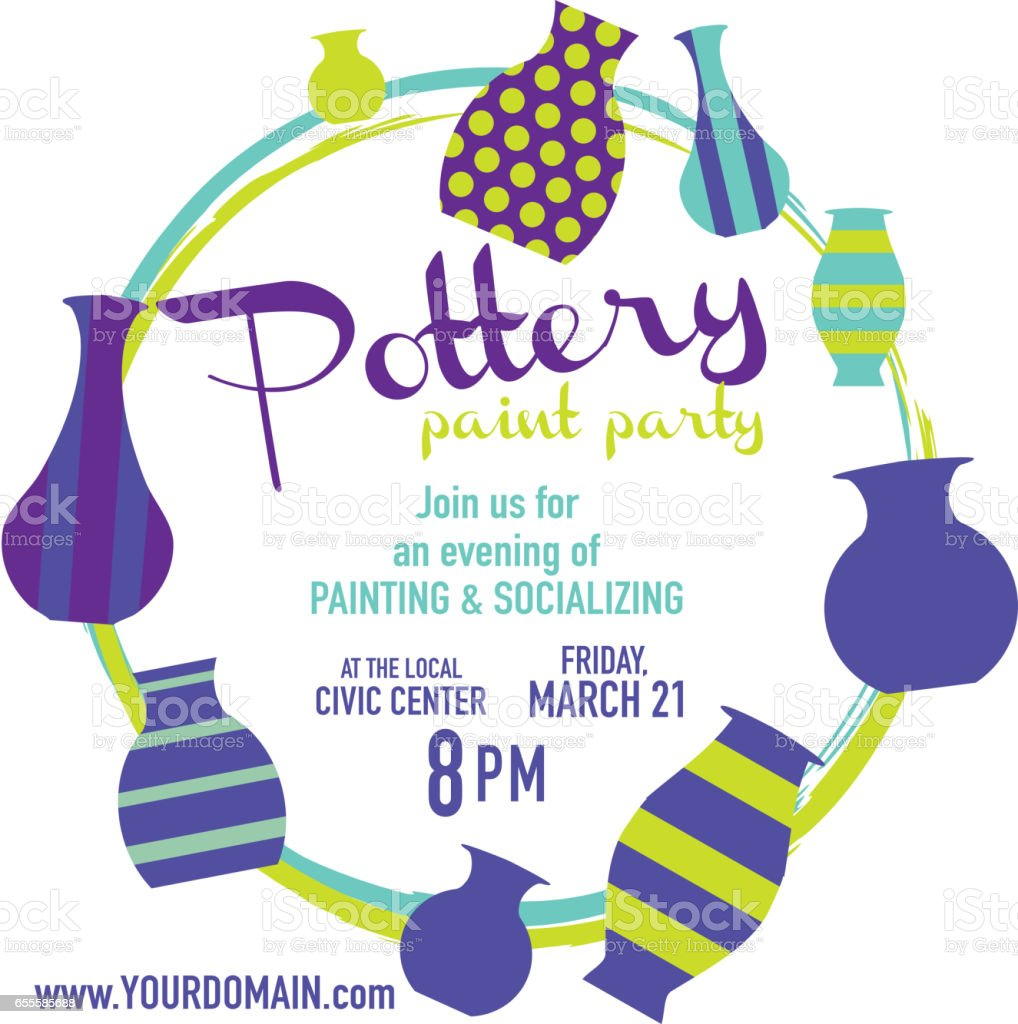 pottery paint party invitation design template stock vector art