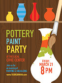 Pottery Paint party invitation design template
