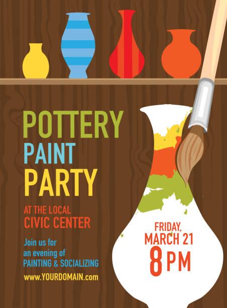 pottery paint party invitation design template - wyrób ceramiczny stock illustrations