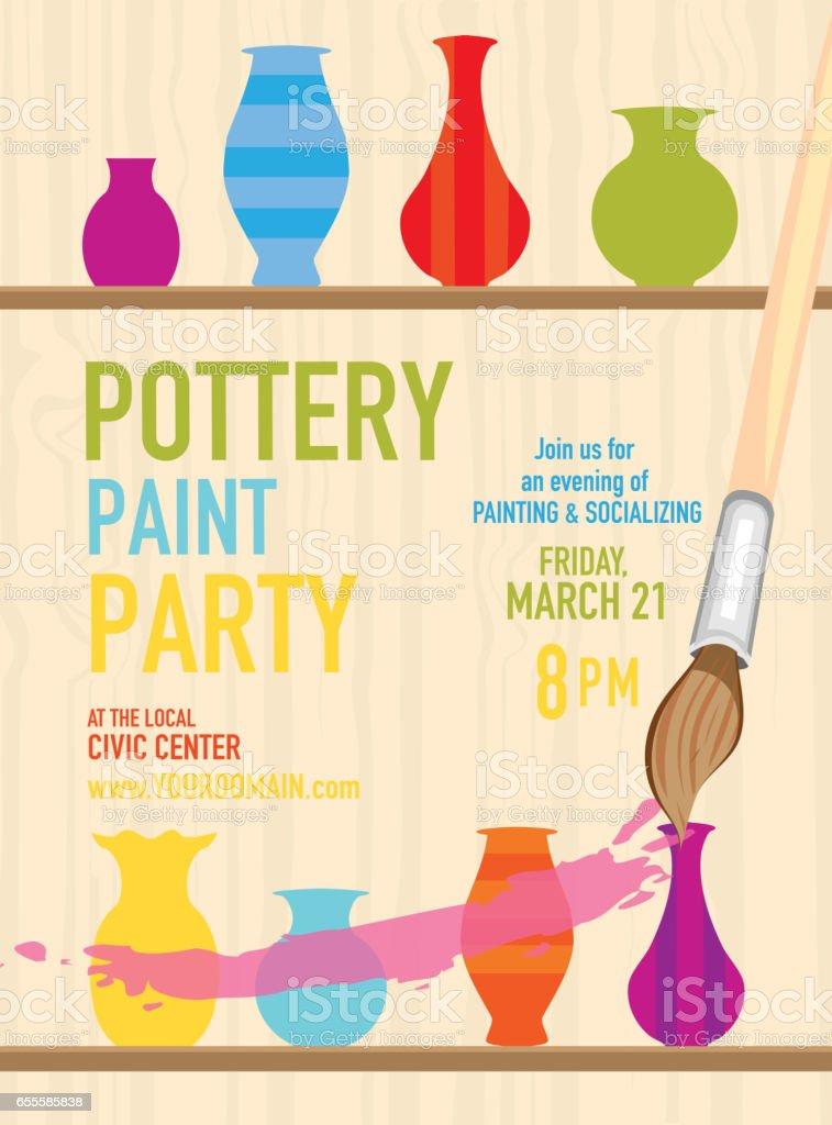 Töpferei Paint Party Einladung Designvorlage Stock Vektor Art und ...