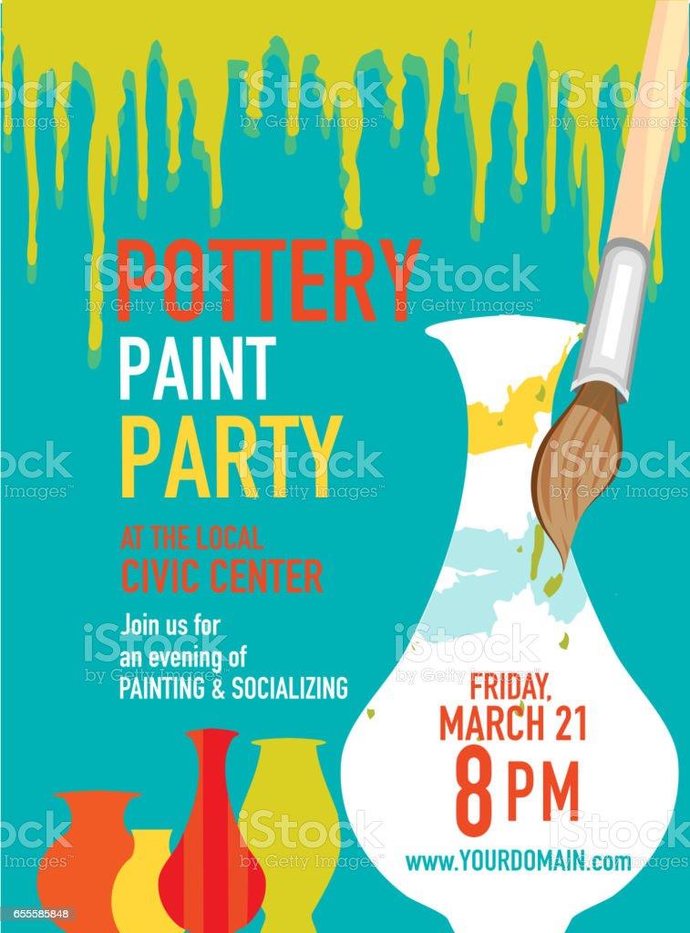 Pottery Party Invitation Design Template Stock Vector Art & More ...