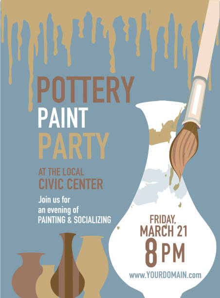 Pottery Clip Art Vector Images Illustrations iStock – Pottery Painting Party Invitations