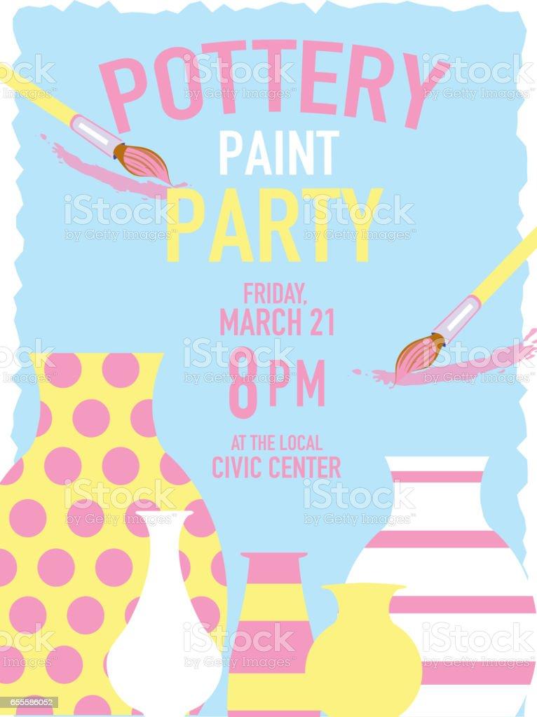 Pottery Party Invitation Design Template stock vector art 655586052 ...