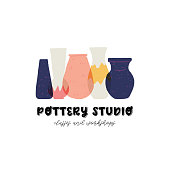 Colorful vector pottery studio design. Perfect emblem for ceramic studio. Stoneware vases and jugs flat style hand drawn illustration. Handcrafted pottery vessels for business card and merchandise.