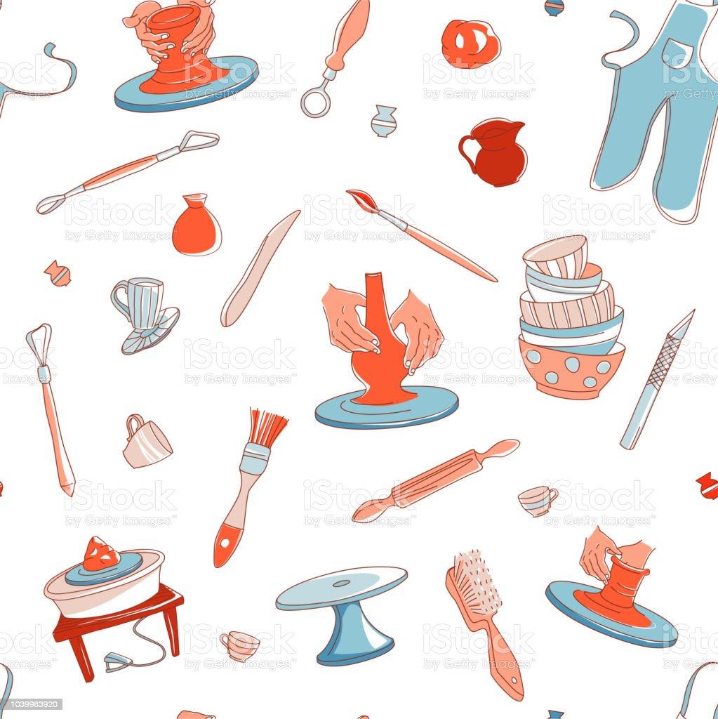 Cerámica estudio transparente de fondo. Ilustración de vector dibujado a mano doodle estilo - ilustración de arte vectorial