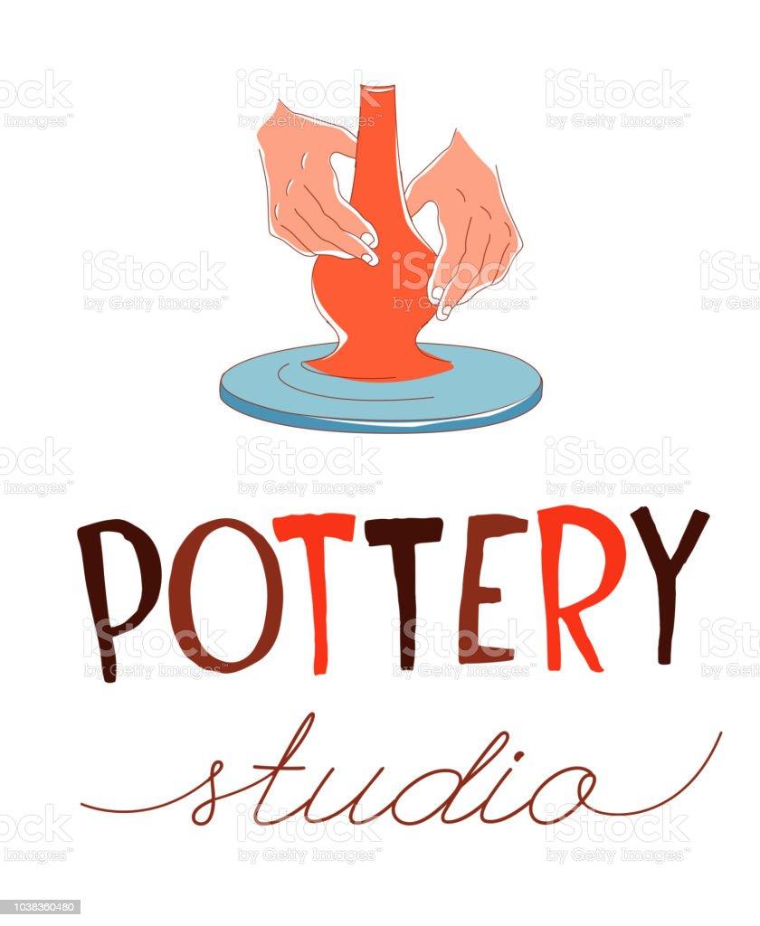 Estudio de la cerámica. Toma, manos formando el vaso sobre la rueda de cerámica tradicional - ilustración de arte vectorial
