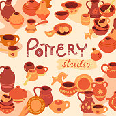 Pottery workshop, ceramics classes banner illustration. Hand building, sculpturing equipment. Art shop circle template with place for text. Vector line icon of clay studio tools.