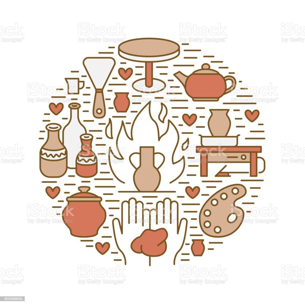 Taller de cerámica, clases de cerámica bandera ilustración. Icono de vector línea de herramientas de estudio de arcilla. Construcción, equipo de esculpir a mano. Plantilla de círculo de arte tienda - ilustración de arte vectorial