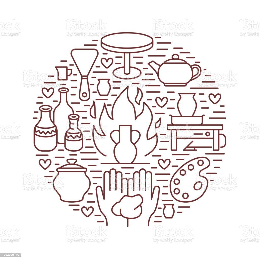 Atelier De Poterie Cours Céramique Bannière Illustration Icône Du ...