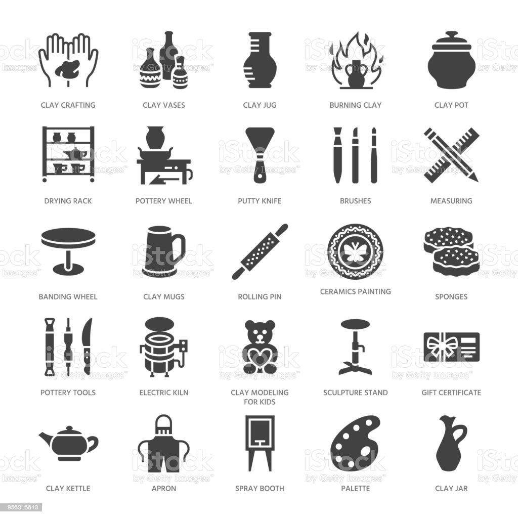Töpferwerkstatt Flache Keramik Klassen Glyphe Symbole ...