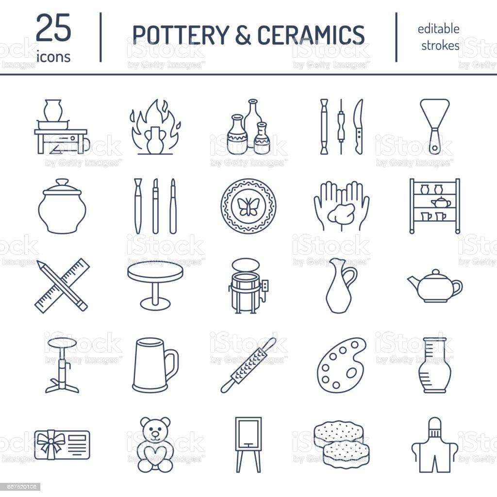 Töpferwerkstatt Keramik Klassen Linie Symbole Tonstudio Tools ...