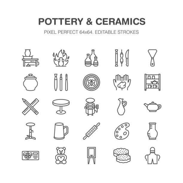 warsztat garncarstwa, klasy ceramiczne ikony linii. gliniane znaki narzędzi studyjnych. budowanie ręczne, sprzęt rzeźbiarski - koło garncarskie, piec elektryczny, narzędzia. pixel doskonały 64x64 - glina stock illustrations