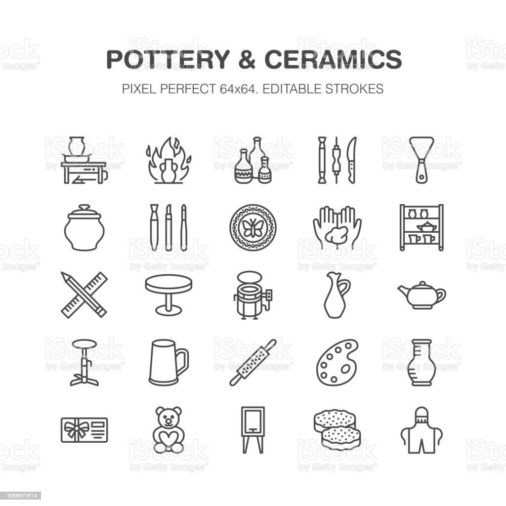 Taller de cerámica, clases de cerámica línea de iconos. Estudio de arcilla herramientas signos. Edificio, escultura equipo - alfarero, hornos eléctricos, herramientas de la mano. Pixel perfecto 64 x 64 - ilustración de arte vectorial