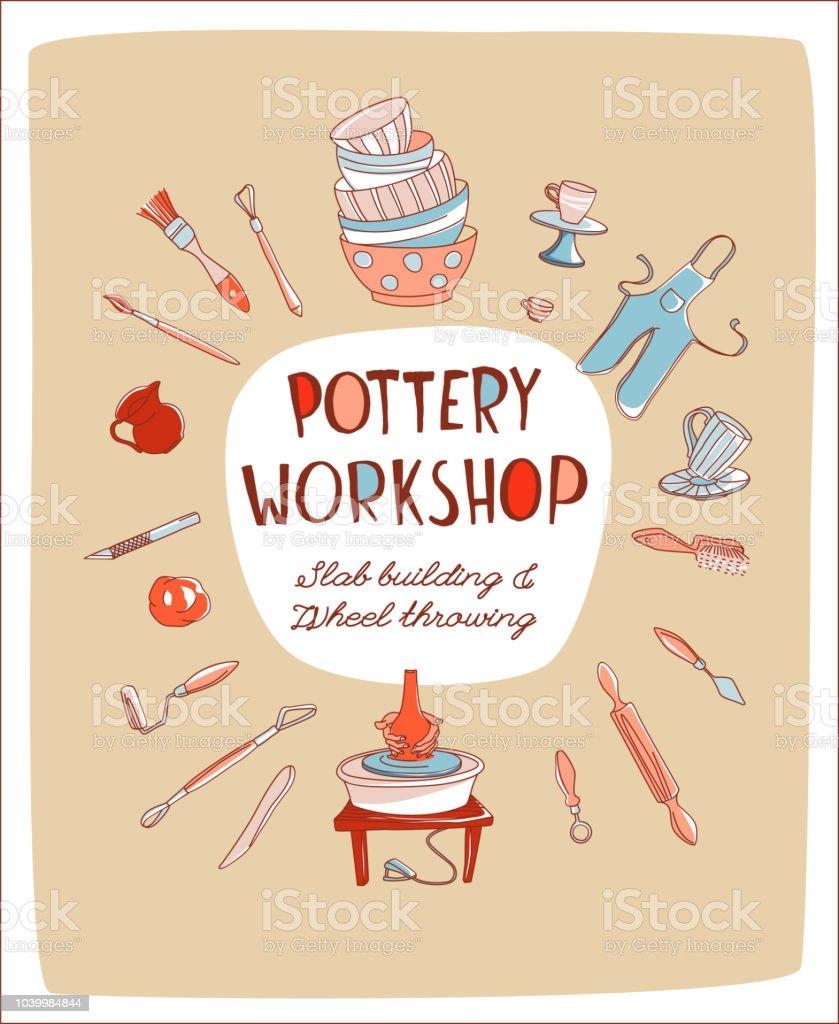 Invitación taller estudio de cerámica invitación cerámica taller estudio doodle estilo - ilustración de arte vectorial