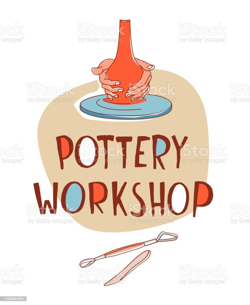 Taller de cerámica. Toma, manos formando el vaso sobre la rueda de cerámica tradicional - ilustración de arte vectorial