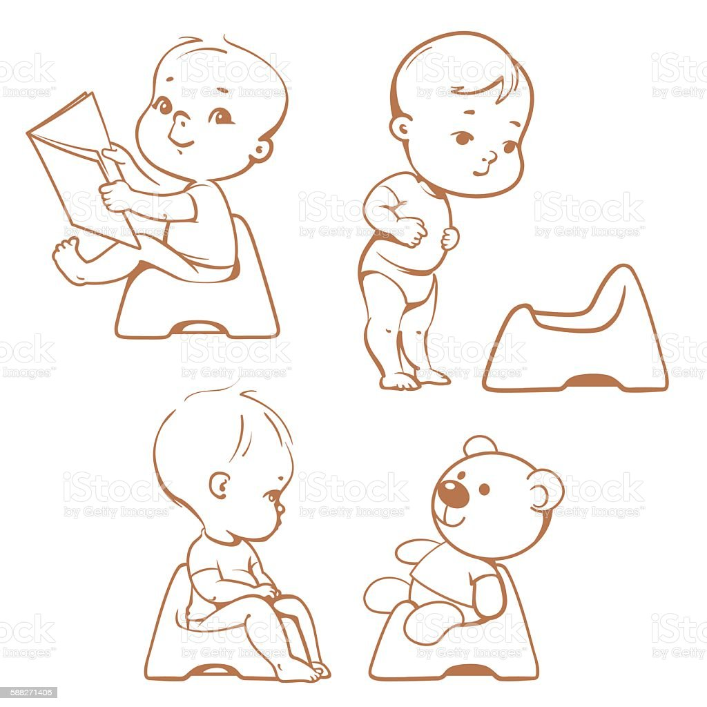 Potty training. Babies in toilet. Sketch. vector art illustration