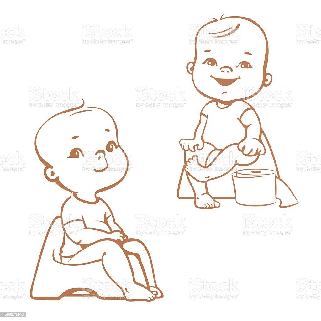 Potty training. Babies in toilet. Sketch vector art illustration