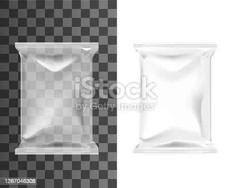 istock Pouch bag, sachet pack, blank plastic foil package 1267046308
