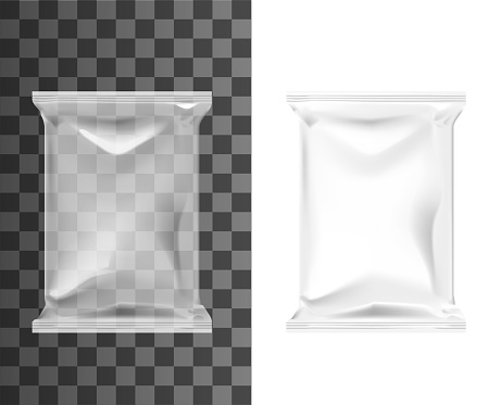 Pouch bag, sachet pack, blank plastic foil package