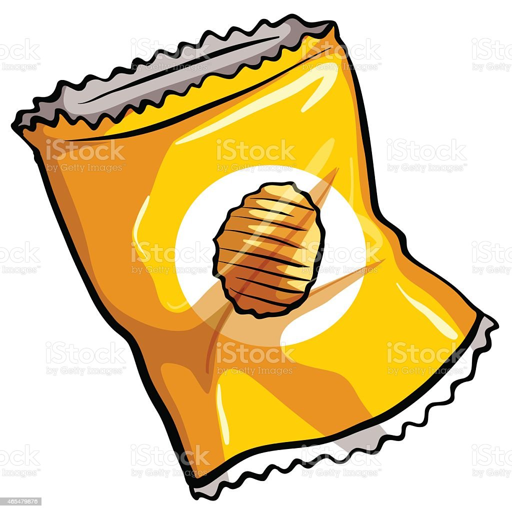 Pouch of chips vector art illustration