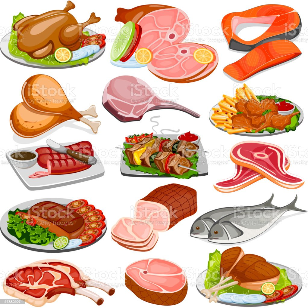 Poultry and Meat Product Food Collection vector art illustration