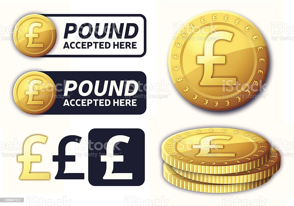 Pound Currency Elements vector art illustration