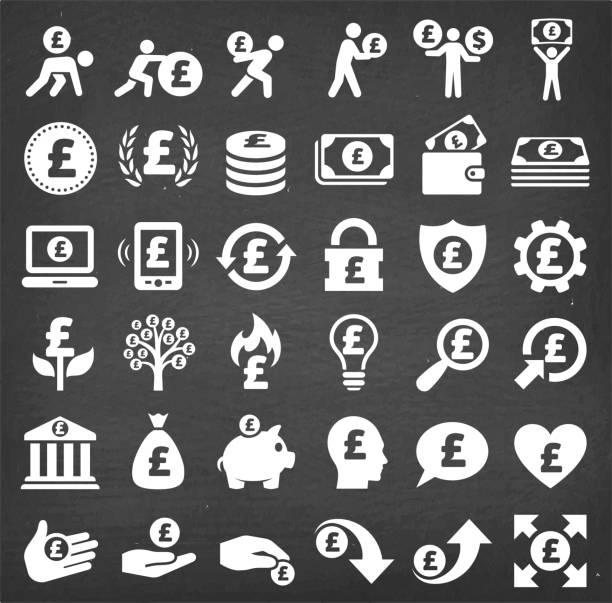 칠판에 설정 파운드 재정 & 돈을 벡터 아이콘 - 영국 화폐 단위 stock illustrations