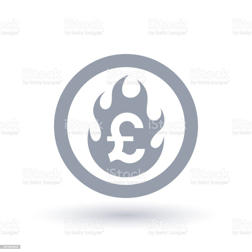 Pound Flame Icon Fire Burning British Currency Symbol Stock Vector