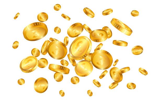흰색 배경에 고립 된 파운드 금화 폭발. 벡터 일러스트레이션 - 영국 통화 stock illustrations