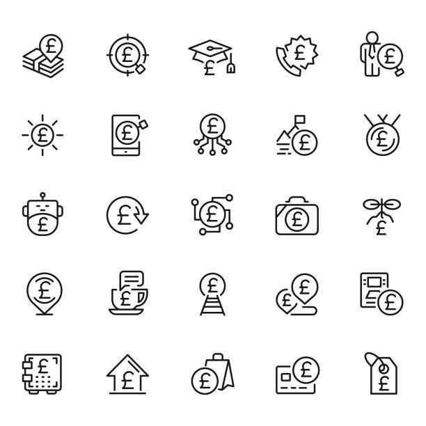 pound icon-set - pfand stock-grafiken, -clipart, -cartoons und -symbole