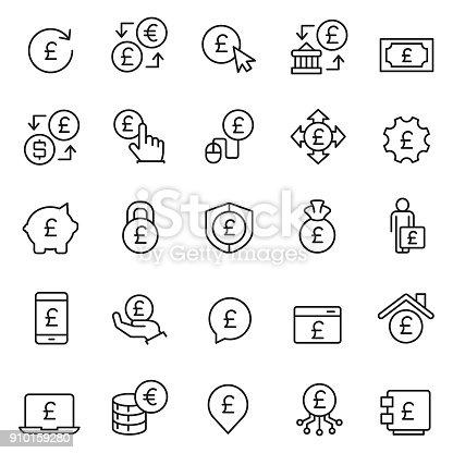 Pound icon set