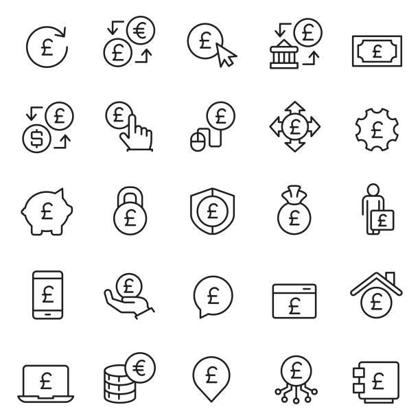 파운드 아이콘 세트 - 영국 화폐 단위 stock illustrations