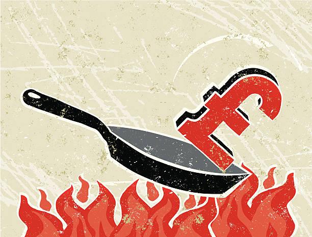 ilustrações de stock, clip art, desenhos animados e ícones de libra de uma frigideira no fogo - fail cooking