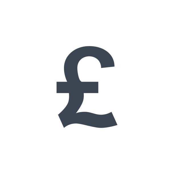파운드 관련 벡터 문말 아이콘입니다. - 영국 화폐 단위 stock illustrations