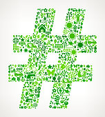 Pound Sign On Green Environmental Conservation and Nature royalty free vector interface icon pattern. This royalty free vector art features nature and environment icon set pattern. The major color is green and icons include trees, leaves, energy, light bulb, preservation, solar power and sun. Icon download includes vector art and jpg file.