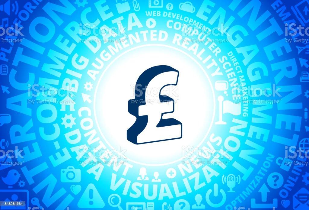 Pound Sign Icon on Internet Modern Technology Words Background vector art illustration