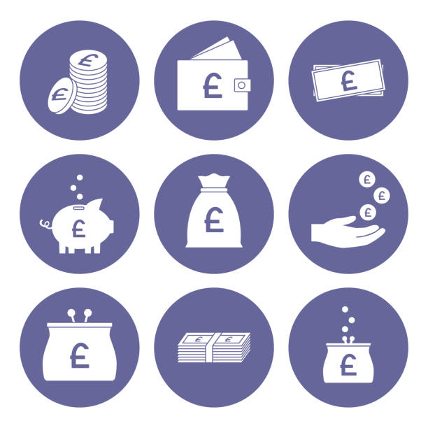 pound sterling icon set. great britain currency. vector - британская валюта stock illustrations