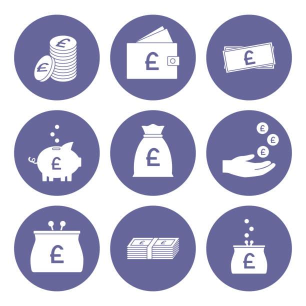 pfund sterling symbol-set. großbritannien währung. vektor - pfand stock-grafiken, -clipart, -cartoons und -symbole
