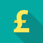 Pound sterling icon with long shadow. Flat design style. Pound sterling simple silhouette. Modern, minimalist icon in stylish colors. Web site page and mobile app design vector element.