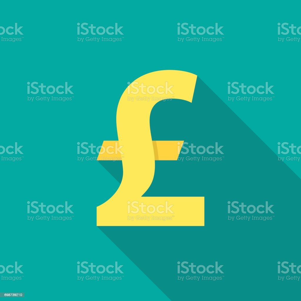 Pound sterling icon with long shadow. Flat design style. vector art illustration