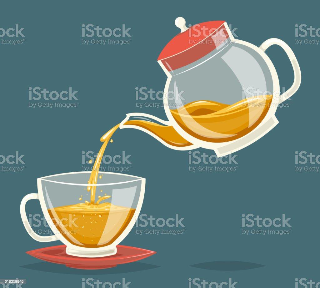 Pour Tea Drink from Glass Teapot Transparent Stream Flow Water vector art illustration
