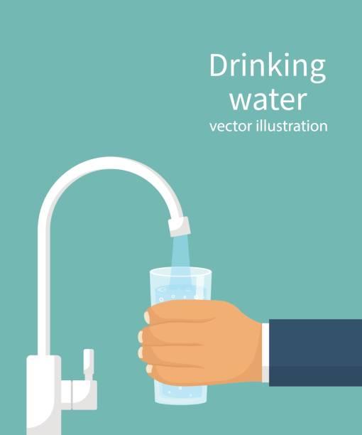 필터에서 유리에 물을 부 어 - tap water stock illustrations