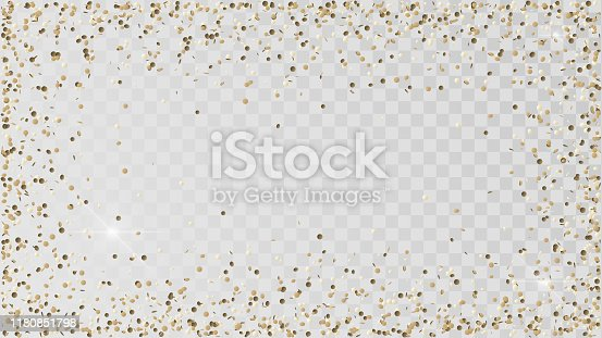 Poured golden confetti on a transparent background, a frame of gold confetti, decoration